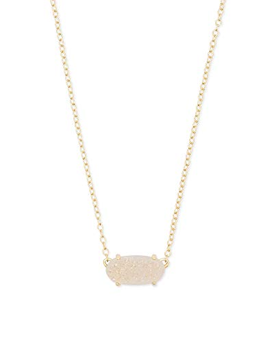 Kendra Scott Ever Short Pendant Necklace for Women, Dainty Fashion Jewelry, 14k Gold Plated, Iridescent Drusy