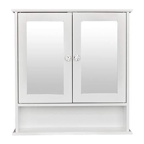 Seven&Plus Double Door Mirror Indoor Bathroom Wall Mounted Cabinet Shelf White Large -