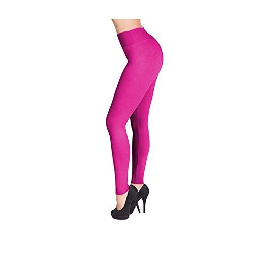 KKMAOAO Damen-Yogahose, modisch, Milchseide, enganliegend, hohe elastische Leggings, hohe Taille, schlankmachend, Fitnesshose, Rosarot, Sporthose, Sommer, Outdoor, wild, einfach, Damen, S, Farbe
