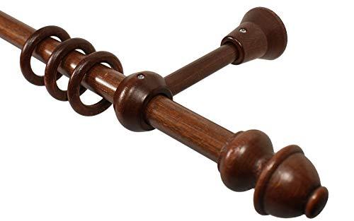 iso-design Gardinenstangen Holz Farbe Nußbaum 20 mm Vorhangstange mit Ringen Endstück Antik, 120 cm