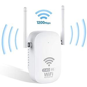 Getue Repetidor WiFi Amplificador WiFi 1200Mbps Repetidor WiFi 5GHz y 2.4GHz Amplificador Señal WiFi Repetidor Señal WiFi,Ap/Repeater Modos,Compatible con Enrutador Inalámbrico