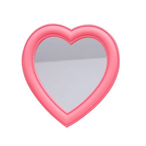 Vosarea Makeup Mirror Heart Shape Wall Desktop Mirror Cosmetic Vanity Mirror for Women Ladies Friends Gift (Pink)