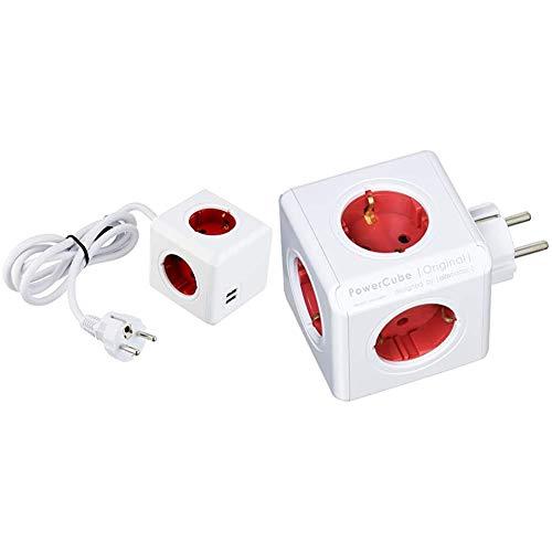 POWERCUBE Extended USB + Original - Regleta de 5 Tomas de Corriente, Color Rojo