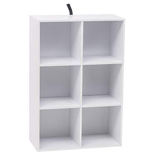 WOLTU Estantería para Libros Estantería de Exposición Estantería de Pared con MDF, Blanco, Estante para Oficina Gabinete para Archivos, 6 Compartimentos 60x30x89cm SK002ws3