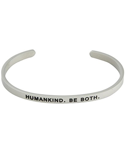 Buddha Groove 'Humankind. Be Both Engraved Personal Mantra Affirmation Stainless Steel Adjustable Cuff Bracelet | 4mm Wide fits Most Women's Wrist