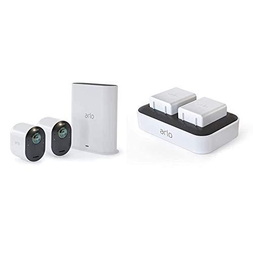 Arlo Ultra Überwachungskamera & Alarmanlage, 4K UHD, 2er Set, Smart Home, kabellos & Doppelladestation (nur mit kabelloser Arlo Ultra, Pro3 und Floodlight Überwachungskamera kompatibel)