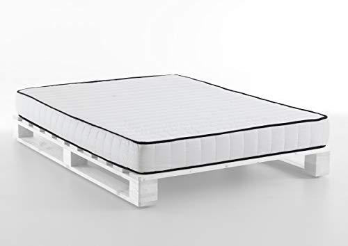 Atlantic Home Collection Palettenbett PIERA, 140x200 cm, inklusive 20 cm Taschenfederkernmatratze, Massivholz (Kiefer), Weiß
