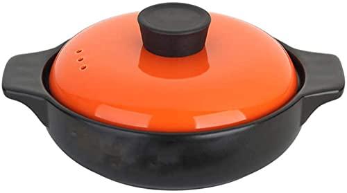 HYYDP Cacerolas Utensilios de Cocina 1.6L Terracota Horno holandés Casserole Platos con Tapas de Almacenamiento de Calor y Ahorro de energía, fácil de Limpiar