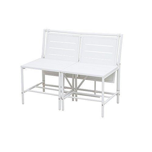 Siena Garden 2er Bank Magic Bench, 54x98x77cm, Stahl, pulverbeschichtet in matt weiß