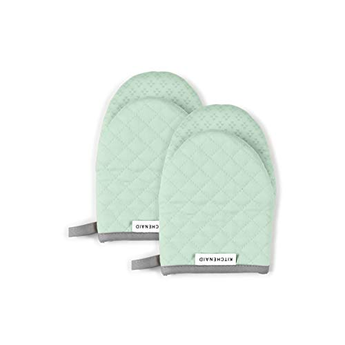 KitchenAid Asteroid Mini Cotton Oven Mitts with Silicone Grip, Set of 2, Pistachio