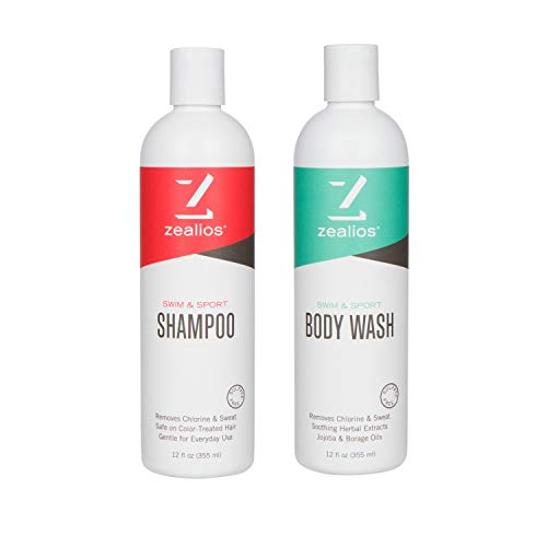 Zealios Swim Shampoo & Body Wash - Repairs, Hydrates, Protects Color/Treated Hair & Skin from Pool Chemicals, Chlorine & Salt Water - Daily Use 12 oz Bottles