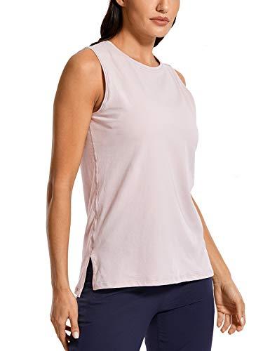 CRZ YOGA Women's Pima Cotton Sleeveless Tank Relaxed Fit Workout Yoga Tank Top Smoky Blush XS