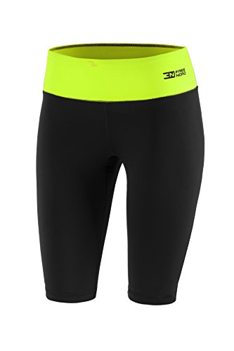 Fittech Performance Leggings corti da donna, termoattivi, adatti a: corsa, fitness, pilates, ciclismo, sport all'aria aperta, nero / lime, S