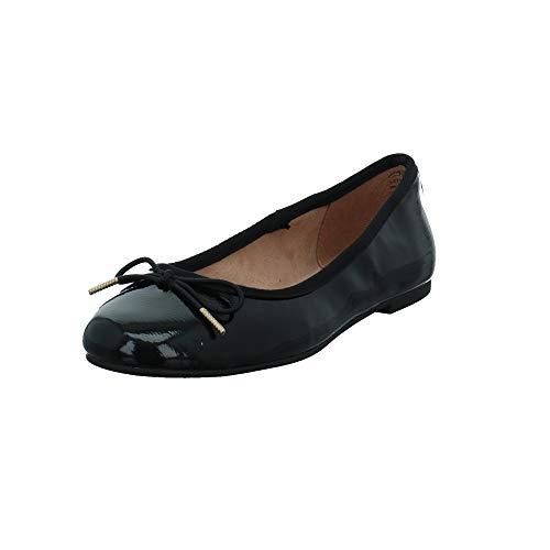 Tamaris Damen 22101/018 Schwarze Lack Ballerina Größe 36 EU Schwarz (Black)