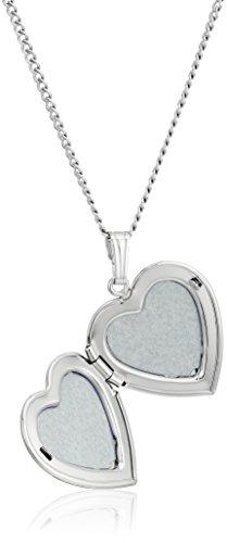 "Sterling Silver Polished Heart Locket Necklace, 20"""