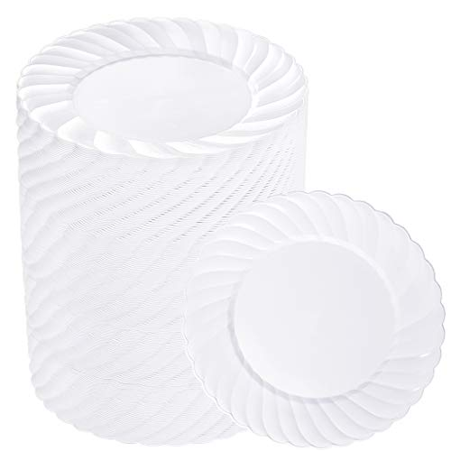 BUCLA 100PCS White Plastic Plates-6.6inch Disposable Dessert/Salad Plates-Premium Plastic Plates For Wedding&Parties
