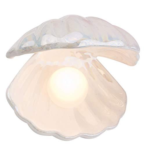 Lioobo - Lámpara de luz nocturna con forma de concha y perla, decoración de mesa, centro de mesa, decoración para dormitorio, salón, color blanco