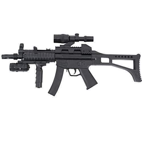 Amont Fusil CYMA Tipo MP5 de Muelle con mira. Calibre 6 mm - Negra - Energía 0.5 Julios - Velocidad de Disparo 91m/s - 300 FPS. Ref:HY17B