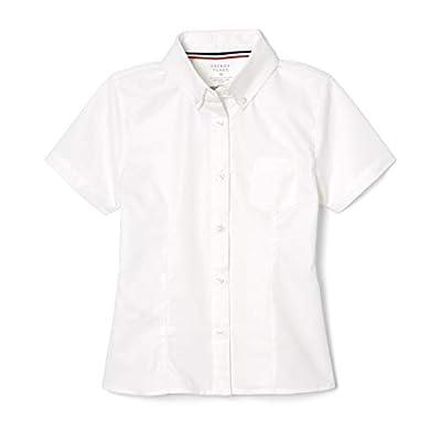 French Toast Girls Short Sleeve Oxford Blouse, White, 18,Big Girls