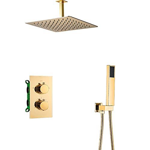 GLYYRLR Termostática Sistema de Ducha Oro Conjunto de Ducha Latón Monomando Montado en el Techo Columna de Ducha con Alcachofa de Ducha, Ducha de Mano,12 Inch