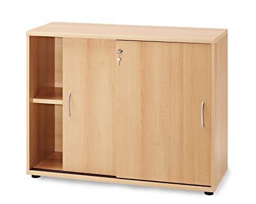 K-Möbel Schiebetürenschrank in Buche (100x39,5x76cm); Aktenschrank; perfekt für das Büro; abschliessbar; Ordnerhöhe;2 Fächer 2OH
