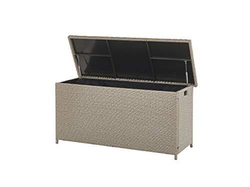 Garden Deck PE Rattan Storage Box Beige 126 x 46 cm Modena