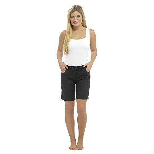 CityComfort Damen Leinen Freizeithosen Urlaub elastische Taille Damen Sommer Hosen Hosen Shorts beschnitten mit Taschen (46, Schwarze Shorts), UK 18