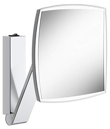 KEUCO Wand-Kosmetikspiegel mit Schwenkarm, LED-Beleuchtung, 5-facher Vergrößerung, Wippschalter, 20x20cm, eckig, chrom, Kippschalter, iLook_move