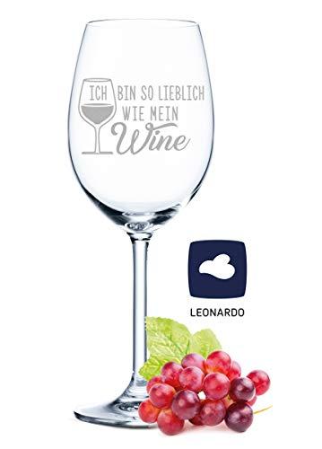 Leonardo Weinglas mit Gravur - Ich bin so lieblich wie mein Wine - Geschenk für Hobby-Sommelier & Weinliebhaber - Weingläser - Geburtstagsgeschenk für Frauen & Männer