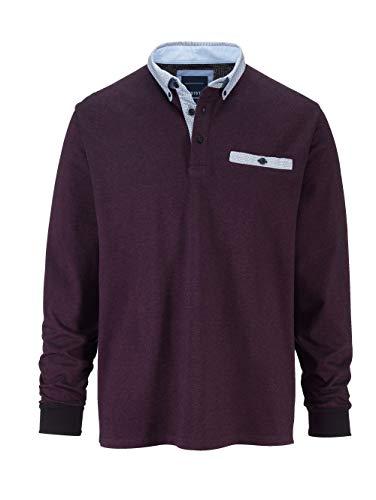 BABISTA Herren Regular Fit Poloshirt Langarm in Beere aus Baumwolle in zweifarbiger Optik