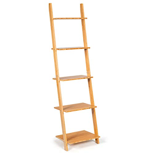 Tangkula Bamboo 5-Tier Ladder Shelf Bookshelf, Wall-Leaning Bookshelf, Plant Flower Stand, Storage Display Shelves for Living Room Bathroom Office, Multifunctional Ladder Bookcase (Natural)