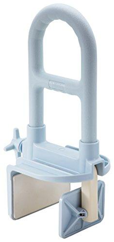 Medline Bathtub Safety Grab Bar, Shower Rail, Microban Antimicrobial Protection, Light Blue, 1 Count
