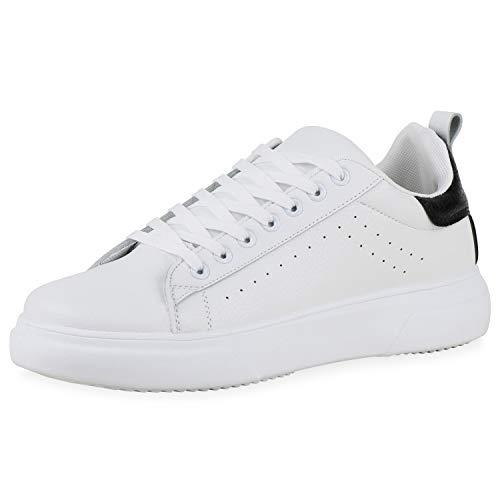 SCARPE VITA Herren Sneaker Low Kroko-Optik Flache Profilsohle Freizeit Schnürer Bequeme Schuhe 195256 Weiss Schwarz Kroko 44