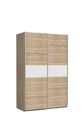 NEWFACE Ohio Kleiderschrank, Holzwerkstoff, Korpus in Sonoma Eiche Dekor mit einer Front in Sonoma Eiche Dekor und weißer Bauchbinde, B*T*H: 120 x...
