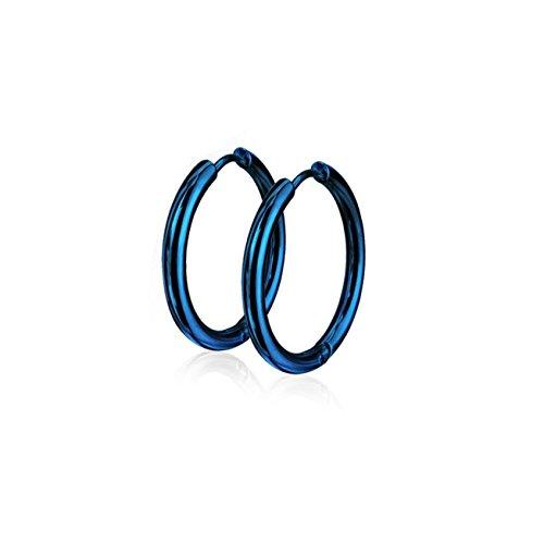 beyoutifulthings Damen 1 Paar Creolen Ohringe Ohr-ringe Set Ohr-stecker Edelstahl Chirurgenstahl Klickverschluss Seamless Line blau 20mm