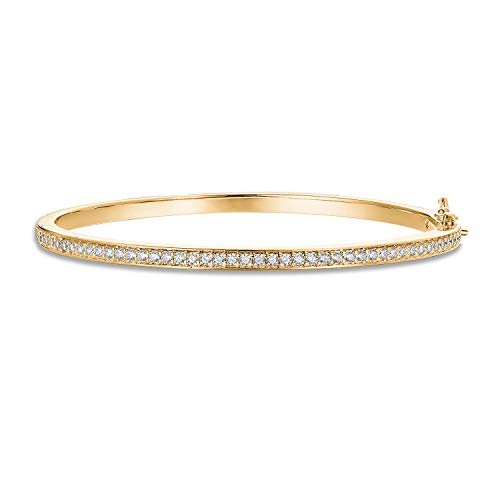 PAVOI 14K Gold Plated Cubic Zirconia Bangle Classic Tennis Bracelet | Yellow Gold Bracelets for Women | 7.5 Inches