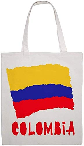 Vintage National Flag of Colombia Shoulder Bag Canvas Tote Bag, Reusable Grocery Shopping Cloth Bags, Double-sided Printing Tote Handbags
