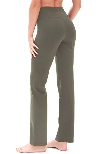 icyzone Damen Bootcut Yogahose Lange Sporthose Hohe Taille Flare Fitness Training Hosen (S, Olivgrün)