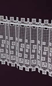 Visillo – Fabricación a medida – Panel de láminas de macramé – Visillo de ganchillo rústico – Altura 40 cm – Ancho de la cortina por número de piezas a elegir en pasos de 5 cm color crudo
