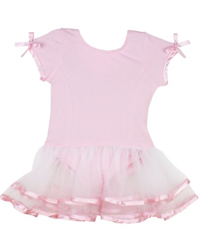 RuffleButts Little Girls Ruffled Tutu Leotard - Pink/White - 2T/3T