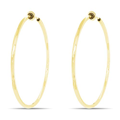 Aloha Earrings - Clip On Hoop Earrings for Women - Silver and Gold-Tone Brass Spring Hoops for Non-Pierced Ears (Gold Tone XL)