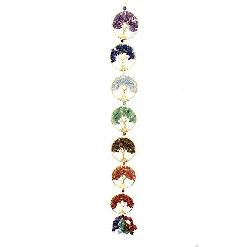 OMKMNOE 7 Chakra Crystal Colgando Ornamento, Wrap Wrap Lumstones Living Árbol Ventana Adorno Lucky Yoga Meditación Casa Bohemia Decoración del Coche,Multi Colored