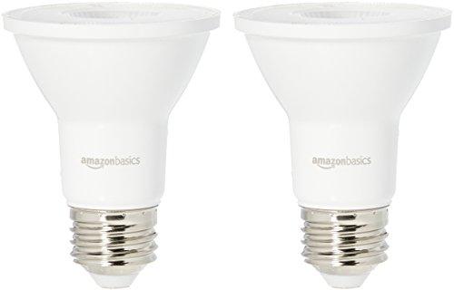 Amazon Basics 50 Watt Equivalent, 3000K White, Dimmable, 15,000 Hour Lifetime, PAR20 LED Light Bulb   2-Pack