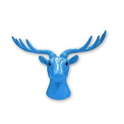 Walplus 43 X 26.5 11.8 cm Tête Cerf Animal Manteau Support Mural Autocollants Art Maison Décoration Salon Chambre Bureau Décor DIY, Bleu