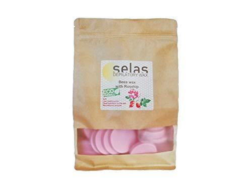 Cera depilatoria de fácil fusión Rosa 1kg SELAS. Depilación sin bandas, con cera de Abejas y aceite de Rosa Mosqueta, para todas las zonas y tipos de pieles, especialmente las sensibles.