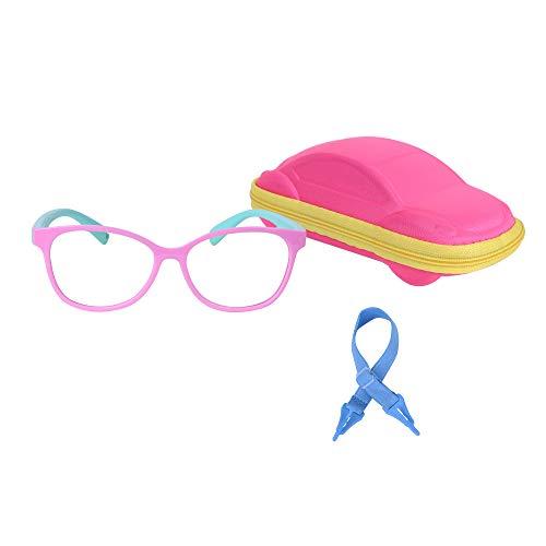 JoXiGo Gafas Anti Luz Azul Ordenador Gaming Niños y Niñas Flexible Montura + Correa de Gafas + Fundas, 3-8años