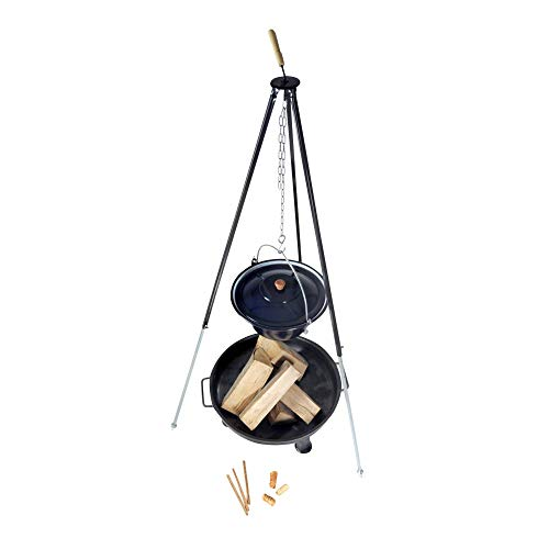 acerto 31797 Ungarischer Gulaschkessel (30 Liter) + Dreibein-Gestell (180cm) + Feuerschale (80cm) + Kaminholz Buche | Teleskop-Dreifuß mit Gulasch-Topf, Suppentopf, Glühweintopf | Große Feuerschale