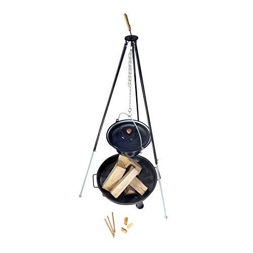 Hongaarse goulashketel (22 liter) + driepoot frame (180 cm) + vuurschaal (80 cm) + haardhout beuken | telescopische driepoot met goulash-pan, soeppppan, glühweinpan | grote vuurschaal voor buiten | ronde metalen haard voor de tuin 6 Liter zwart