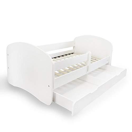 Alcube Kinderbett mit Rausfallschutz, Matratze und Schublade als Set, Bett für Jungen und Mädchen in weiß 70x140 cm