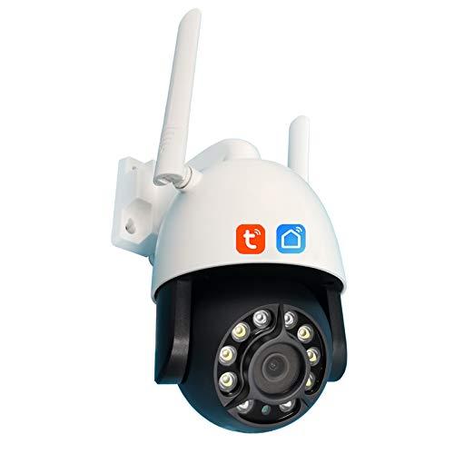 Tuya WIFI Cámara IP, cámara de video de seguridad PTZ de seguimiento automático impermeable al aire libre de conversación bidireccional, vigilancia CCTV de visión nocturna 1080P,Camera + 128g card
